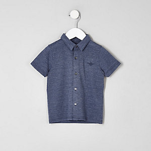 Mini boys blue pique button-up polo shirt