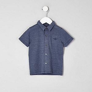 Mini - Blauw poloshirt van piqué met knopen voor jongens