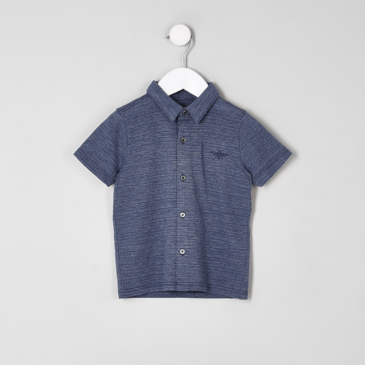 Mini Boys Blue Pique Button Up Polo Shirt Mini Boys Sale Boys