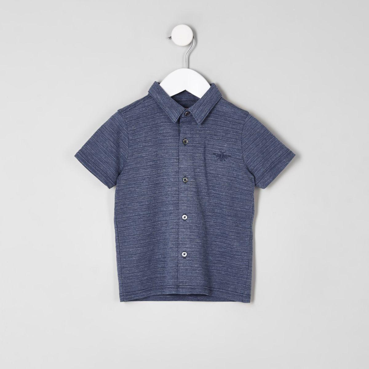 Mini boys blue pique button-up polo shirt