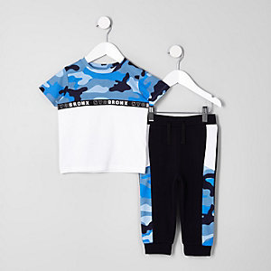 Mini boys block camo T-shirt outfit