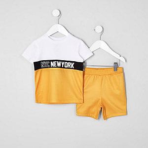 Mini - Outfit met geel T-shirt met blokprint voor jongens