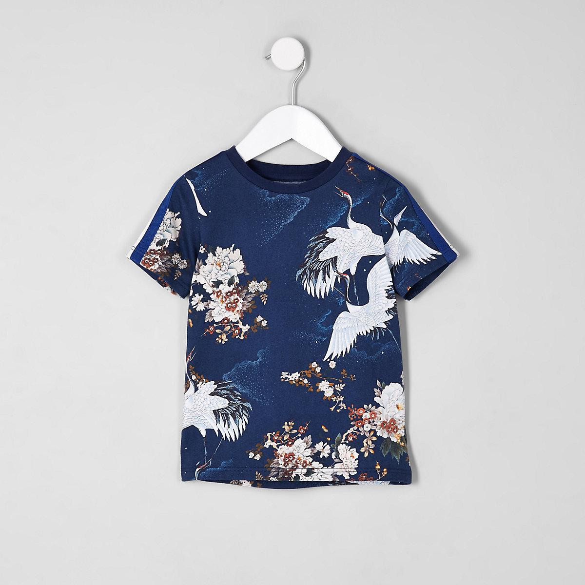 Mini boys crane print tape T-shirt