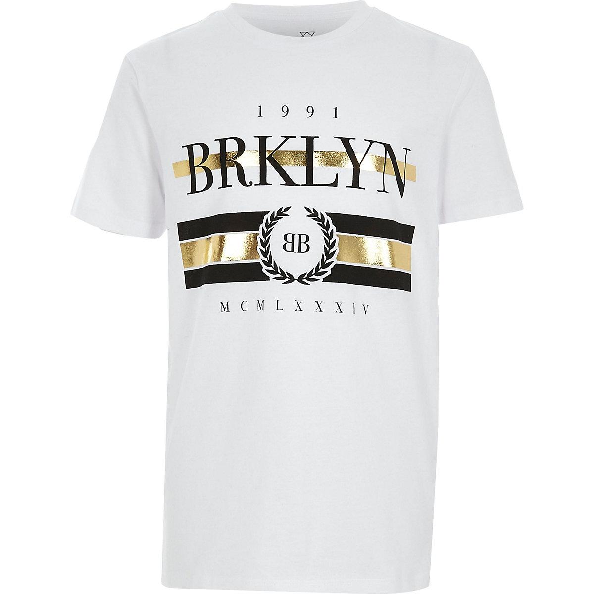 T-shirt à imprimé «Brklyn» métallisé blanc pour garçon