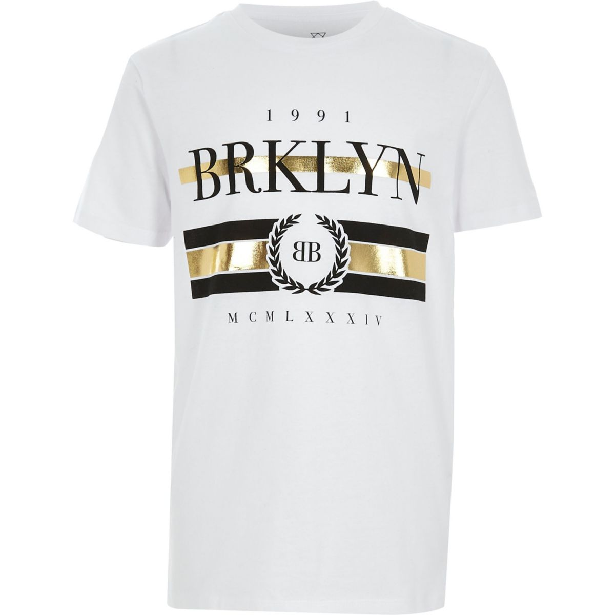 Boys white Brklyn foil print T-shirt