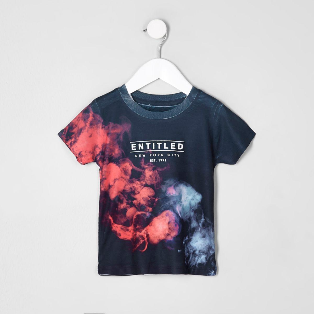 Mini boys blue 'Entitled' T-shirt
