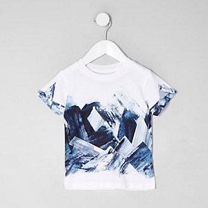 Mini boys white abstract print T-shirt