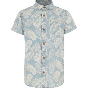 Boys denim feather print shirt