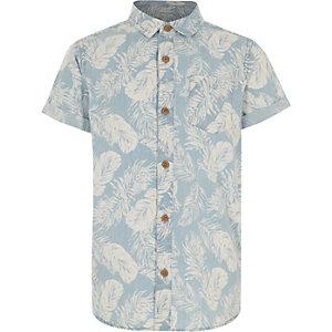 Boys denim feather print shirt