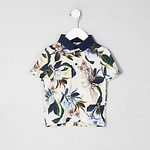 Mini boys blue floral polo shirt