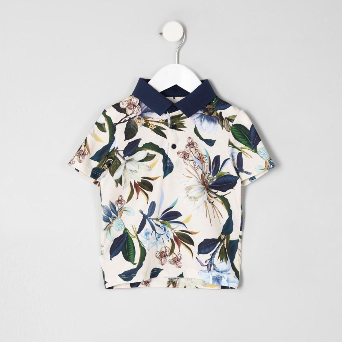 Mini boys blue floral polo shirt