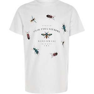 Wit T-shirt met wespprint voor jongens
