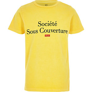 Boys yellow 'societe' flock print T-shirt