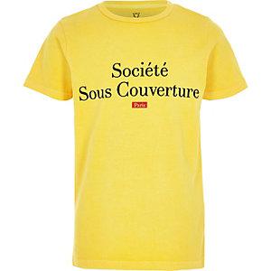 "Gelbes T-Shirt mit ""Societe""-Print"