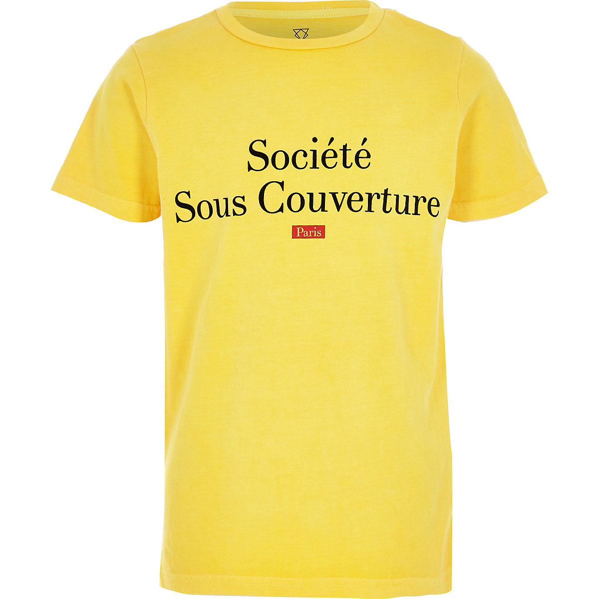 Boys yellow 'societe' flock print T-shirt