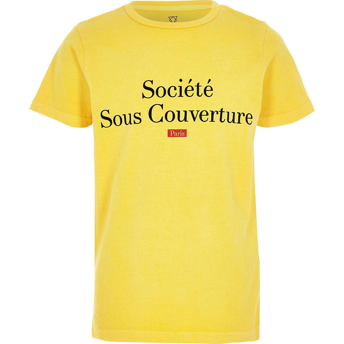 T-shirt jaune à inscription «societe» effet velours pour garçon