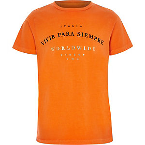 Boys orange 'vivir' print crew neck T-shirt