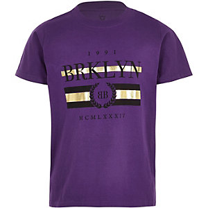 Boys purple 'Brklyn' short sleeve T-shirt