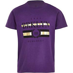 Paars T-shirt met 'Brklyn'-print en korte mouwen voor jongens