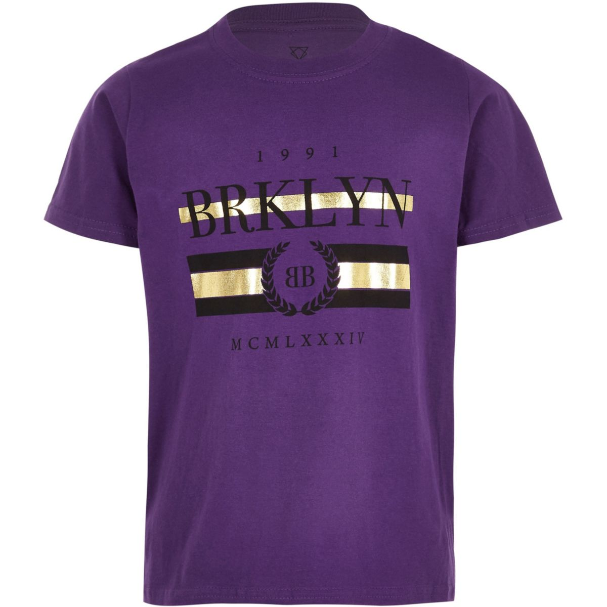 Boys purple 'Brklyn' short sleeve T-shirt