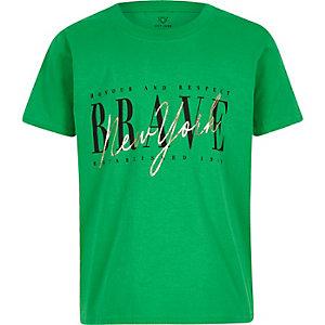 Boys green 'New York' foil print T-shirt