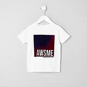Mini boys white 'awsme' print T-shirt
