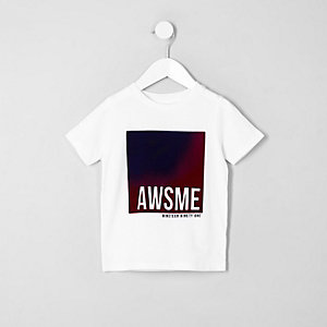 Mini boys white 'awsme' print T-shirt