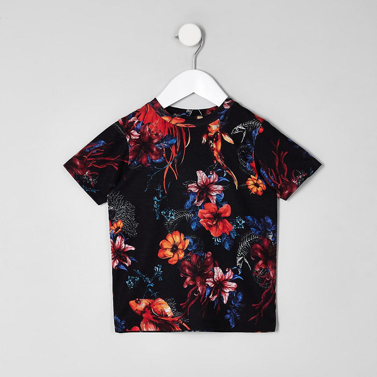 Mini boys black floral short sleeve T-shirt