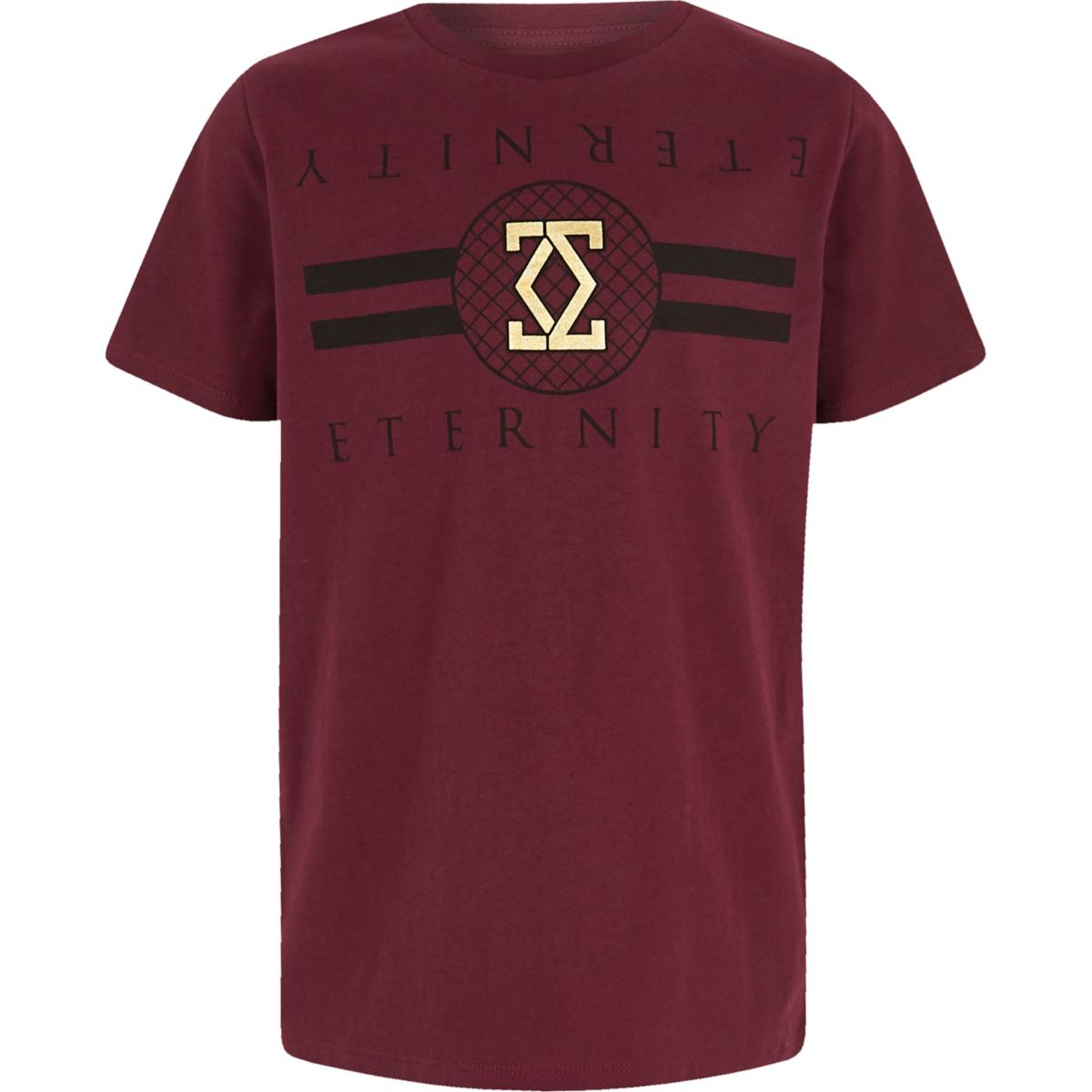 Boys dark red 'eternity' foil print T-shirt
