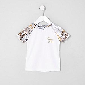 Mini - Wit T-shirt met 'Carpe diem'-print en raglanmouwen voor jongens