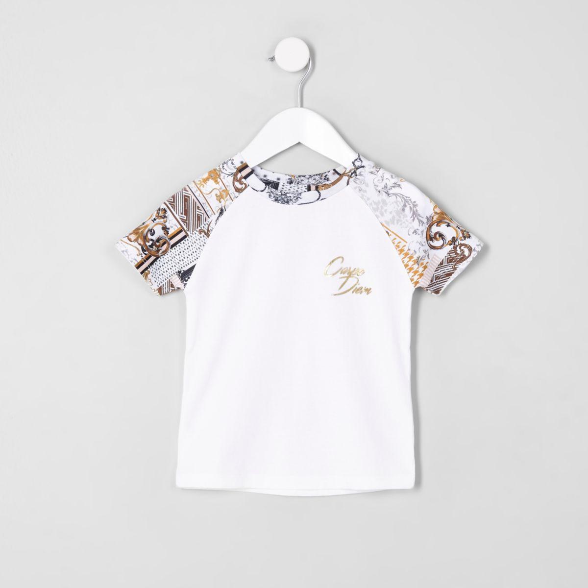 T-shirt «Carpe Diem» blanc à manches raglan mini garçon