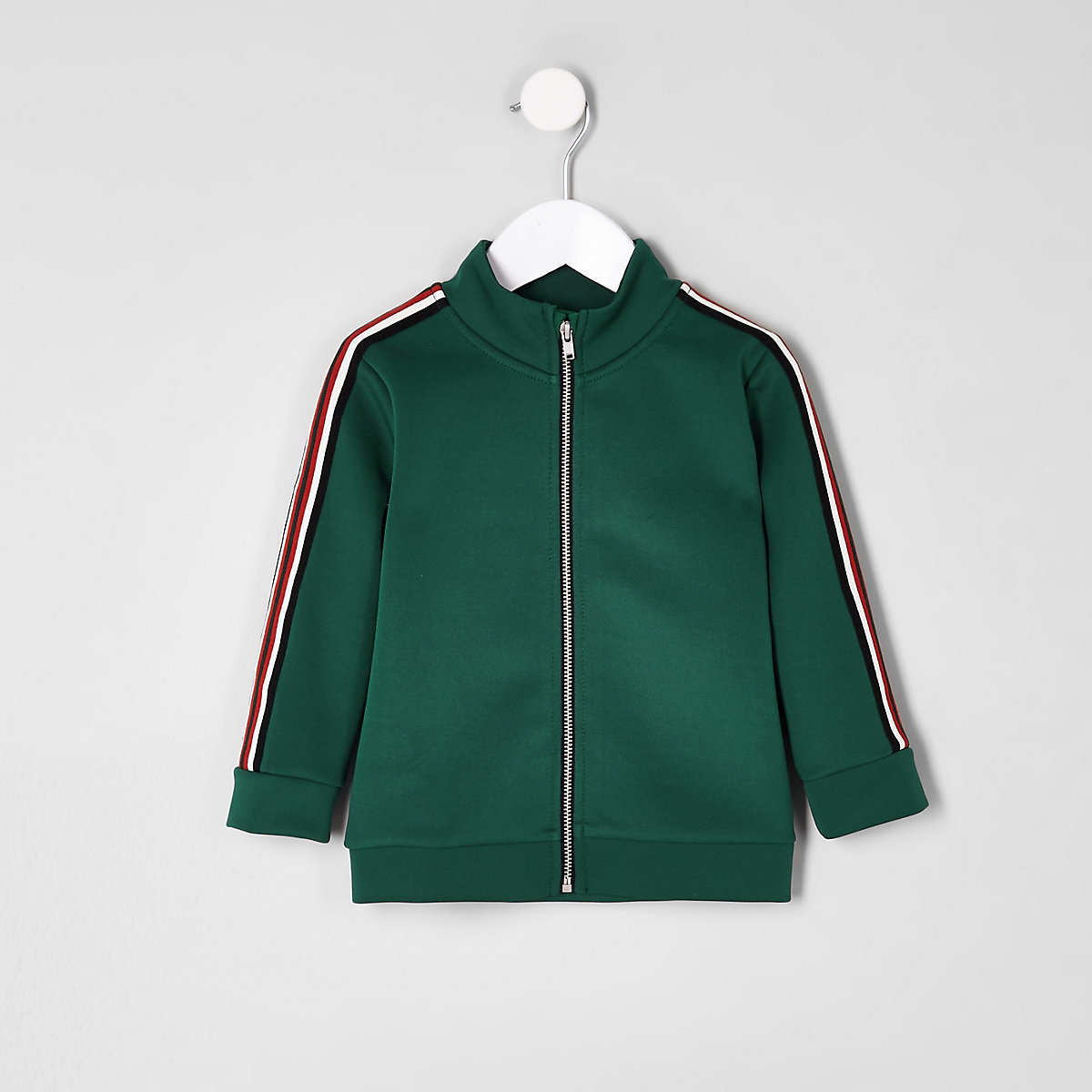 Mini boys dark green tape tracksuit top