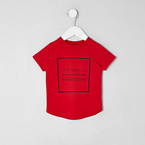 Mini - Rood T-shirt met 'seriously handsome'-print voor jongens