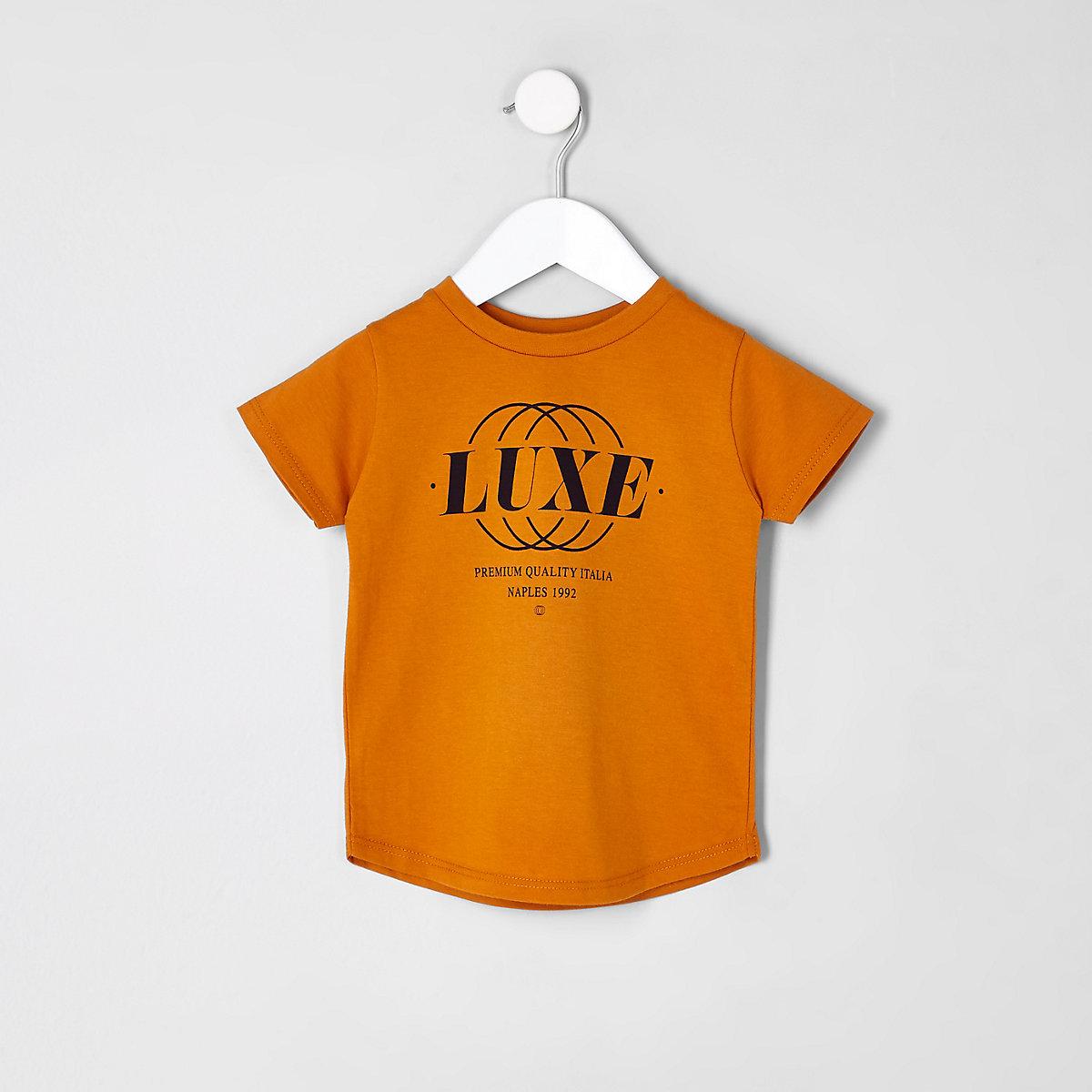 Mini boys orange 'luxe' print T-shirt