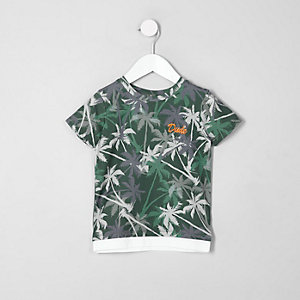 T-Shirt in Khaki mit Palmenprint