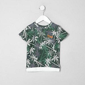 Mini - Kaki T-shirt met palmboomprint voor jongens