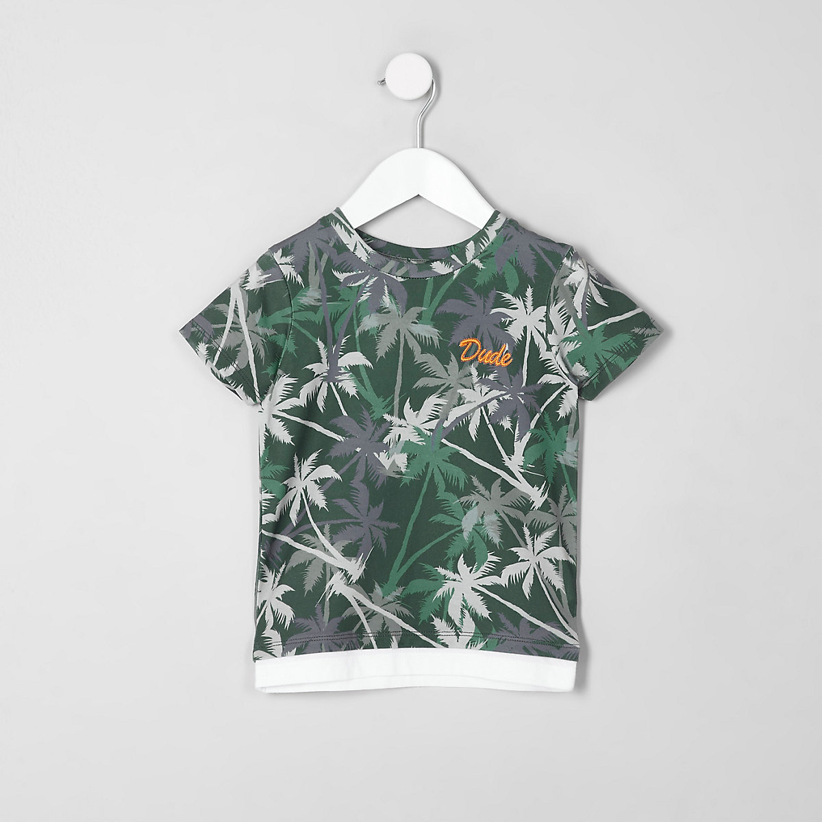 Mini boys khaki palm tree print T-shirt
