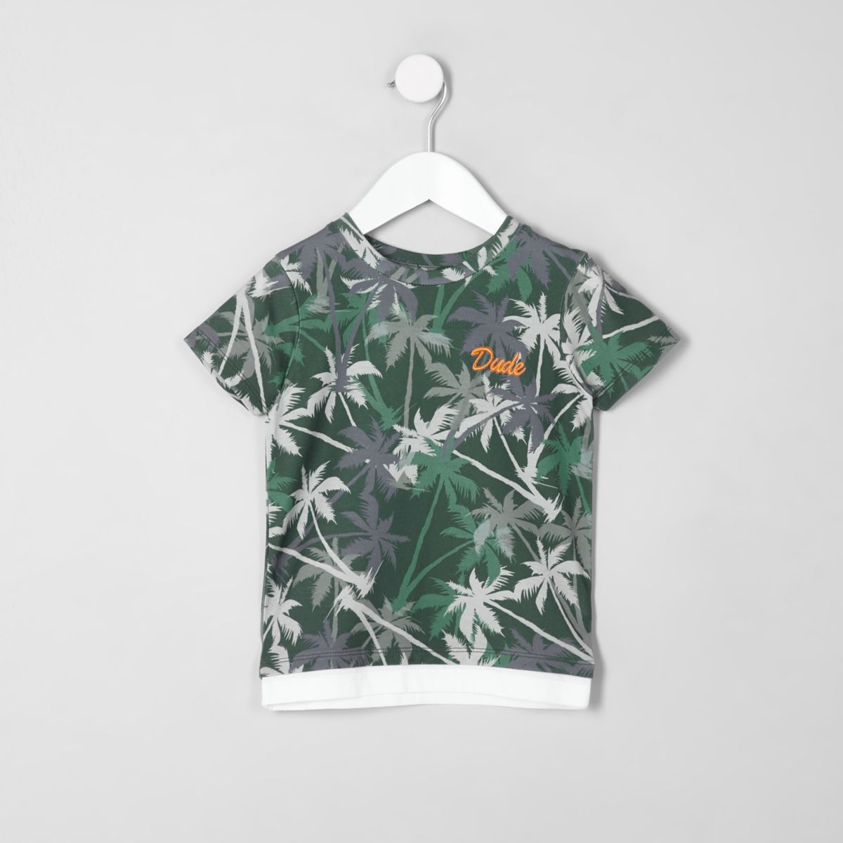 Mini boys khaki palm tree print T-shirt