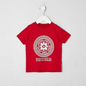 Mini - Rood T-shirt met ronde folieprint voor jongens