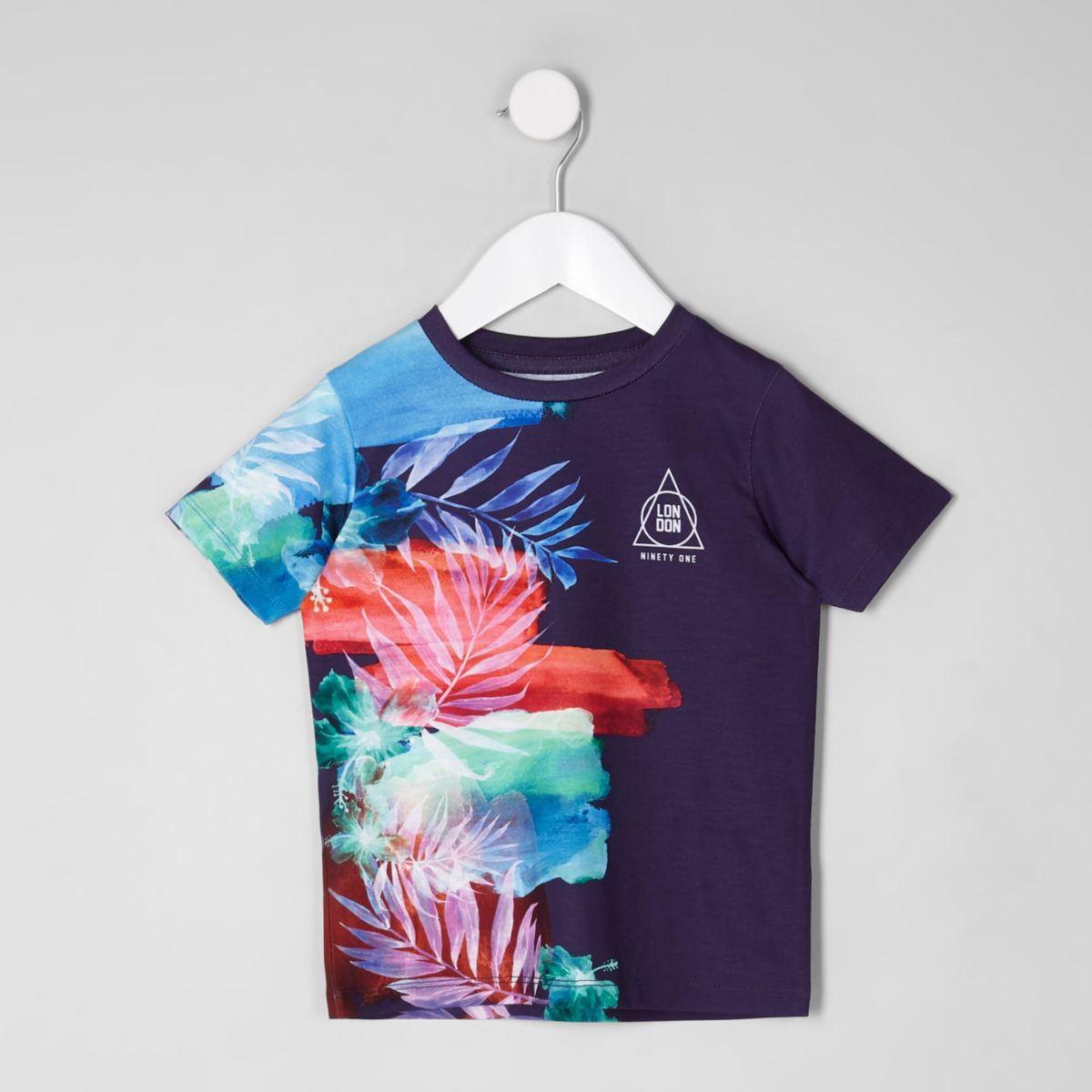 Mini boys purple side fade T-shirt