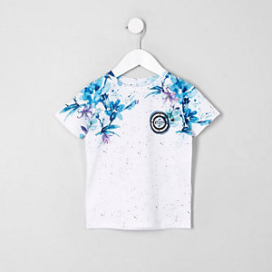Mini boys blue floral fade T-shirt