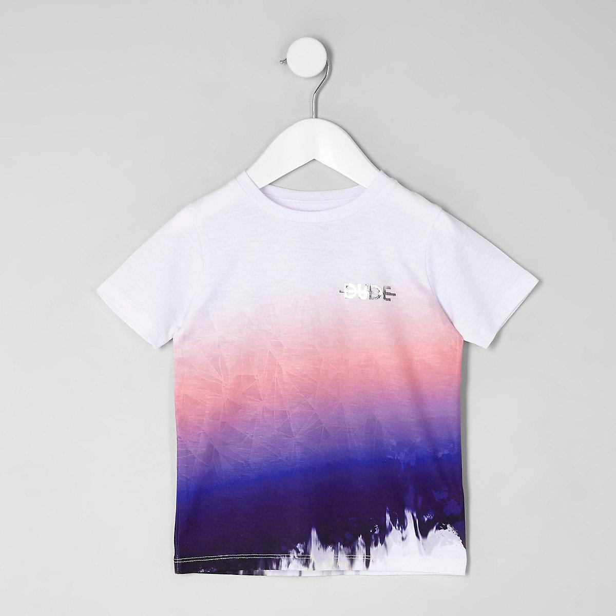 Mini boys pink 'dude' fade T-shirt
