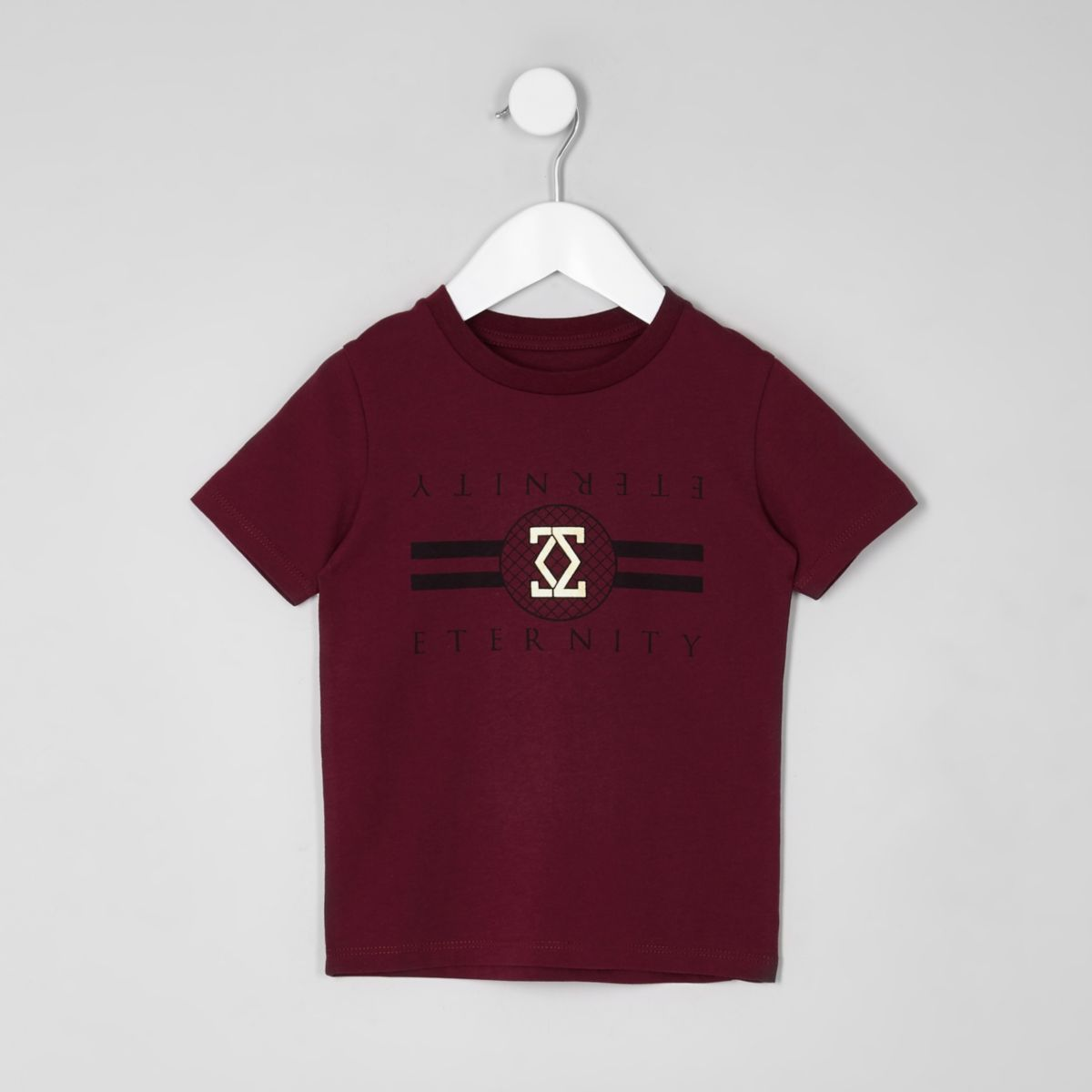 Mini boys red 'eternity' foil print T-shirt