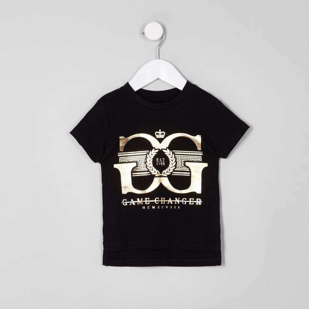 Mini boys black 'game changer' print T-shirt