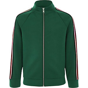 Boys green stripe tape track top