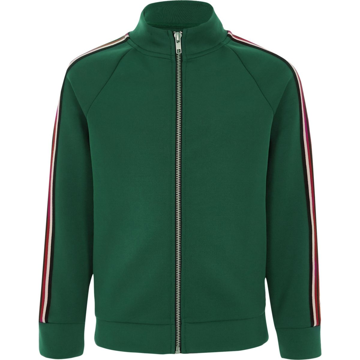 Boys green stripe tape tracksuit top