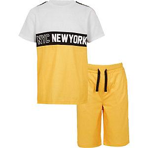 Outfit met geel mesh T-shirt en 'NYC'-print voor jongens