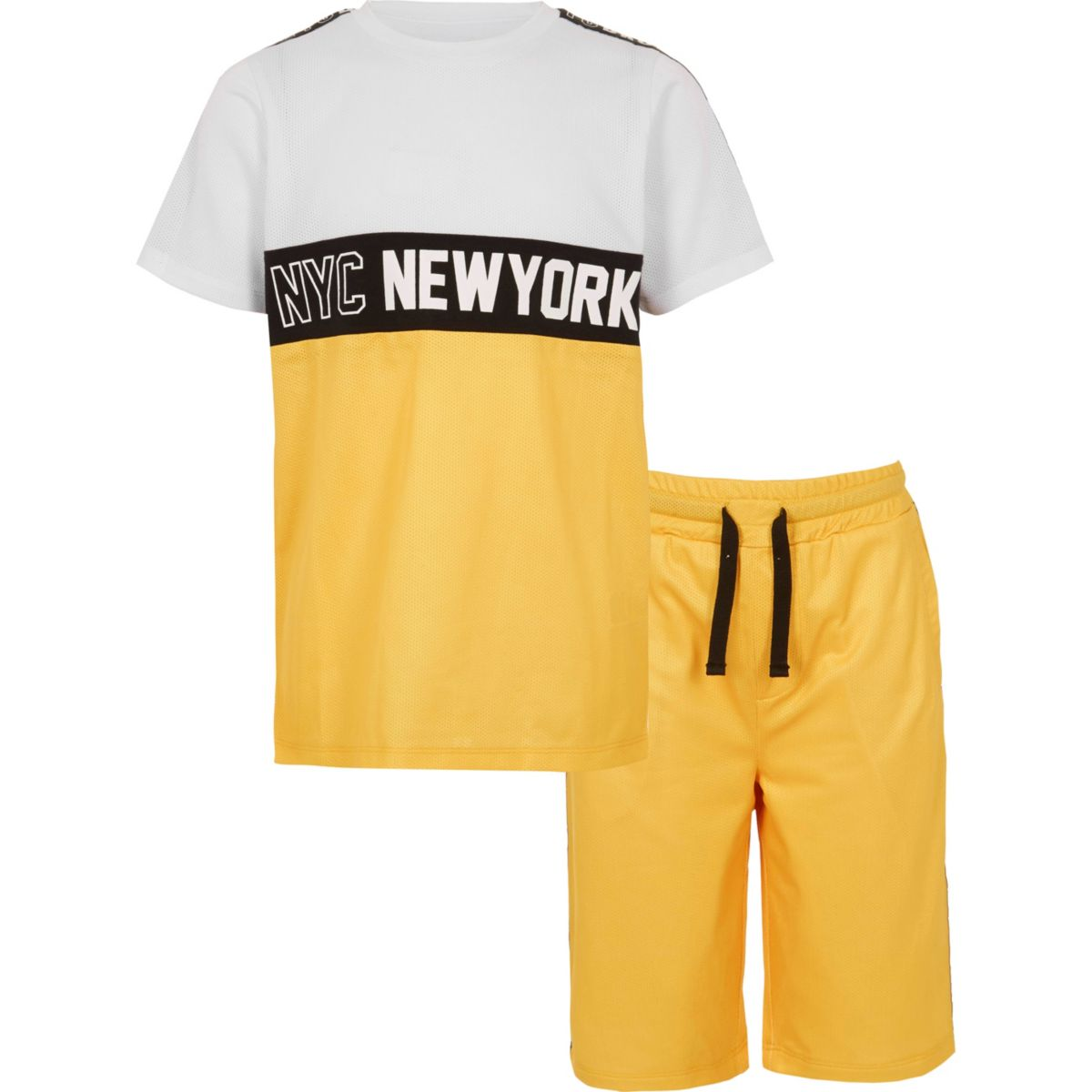 Boys yellow 'NYC' mesh T-shirt outfit