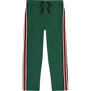 Boys green stripe tape tracksuit bottoms
