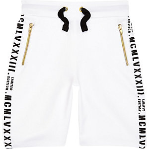 Boys white tape side shorts